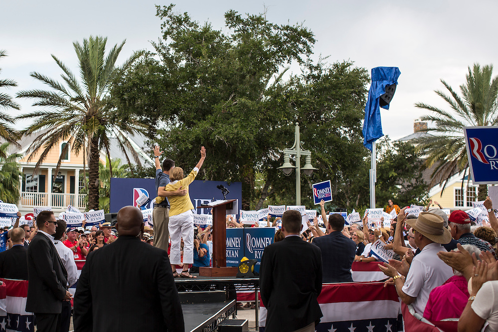 Republican Vice Presidential candidate Paul Ryan (R-WI) waves with his mother, Betty Douglas, at a campaign rally on Saturday, August 18, 2012 in The Villages, FL.