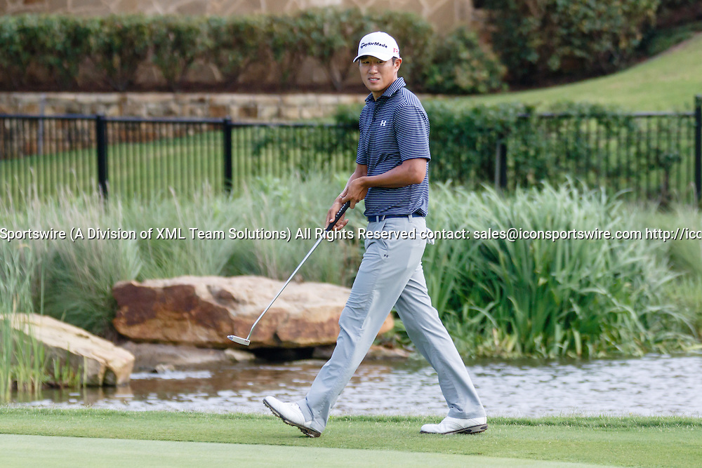 28 MAY 2015: James Hahn walks up to the 17th green during the first round of the AT&T Byron Nelson Championship in Irving, TX.