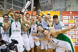 Players of Krka celebrate after winning during basketball match between KK Krka and KK Union Olimpija of Super Cup 2012 match on September 25, 2012 in Arena Brinje, Grosuplje, Slovenia. Krka defeated Union Olimpija 84 - 81 and became Super Cup Champion. (Photo By Vid Ponikvar / Sportida)