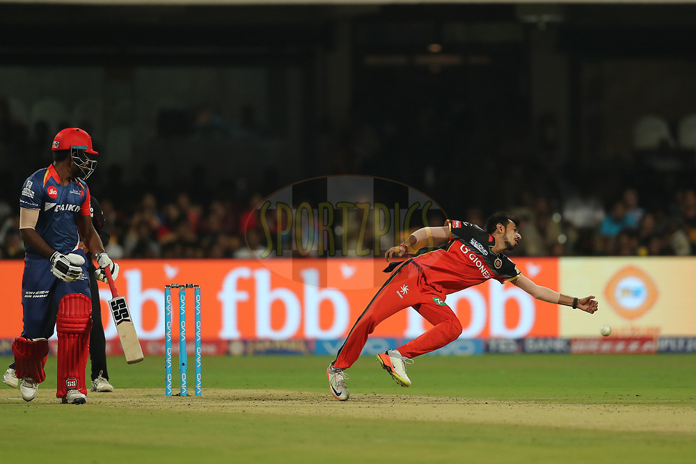 Yuzvendra Chahal of the Royal Challengers Bangalore during match 5 of the Vivo 2017 Indian Premier League between the Royal Challengers Bangalore and the Delhi Daredevils held at the M.Chinnaswamy Stadium in Bangalore, India on the 8th April 2017<br /> <br /> Photo by Ron Gaunt - IPL - Sportzpics