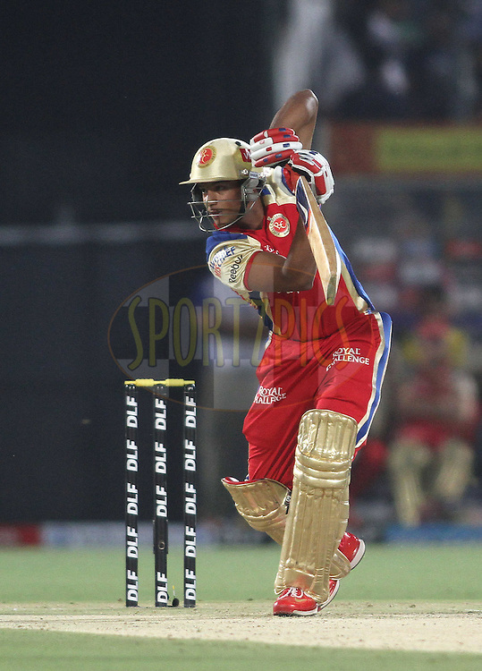 Mayank Agarwal of the Royal Challengers Bangalore drives a delivery during match 30 of the the Indian Premier League (IPL) 2012  between The Rajasthan Royals and the Royal Challengers Bangalore held at the Sawai Mansingh Stadium in Jaipur on the 23rd April 2012..Photo by Shaun Roy/IPL/SPORTZPICS