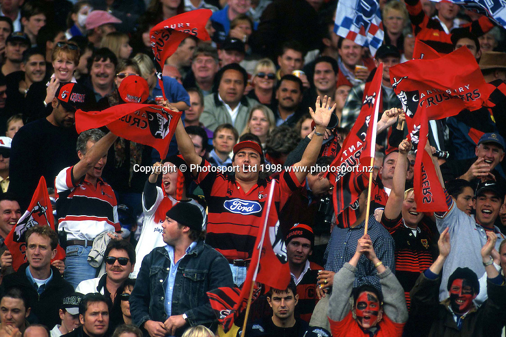 Crusaders fans, Canterbury Crusaders, Super 12 Rugby Union. 1998. Photo: Scott Barbour/PHOTOSPORT