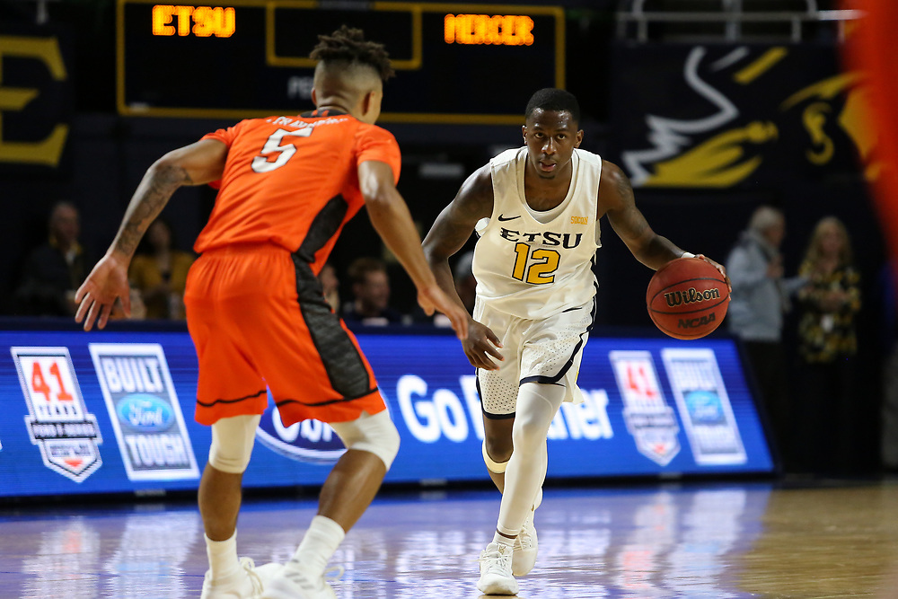 January 24, 2018 - Johnson City, Tennessee - Freedom Hall: ETSU guard Jalan McCloud (12)<br />