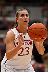 February 26, 2011; Stanford, CA, USA;  Stanford Cardinal guard Jeanette Pohlen (23) shoots a free throw against the Oregon Ducks during the first half at Maples Pavilion.  Stanford defeated Oregon 99-60.