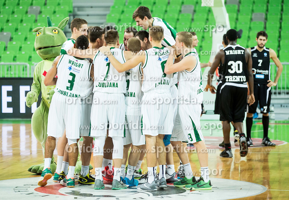 Players of Olimpija celebrate after winning during basketball match between KK Union Olimpija Ljubljana and Dolomiti Energia Trento (ITA) in Round #1 of EuroCup 2015/16, on October 14, 2015 in Arena Stozice, Ljubljana, Slovenia. Photo by Vid Ponikvar / Sportida