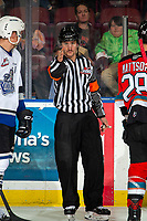 KELOWNA, BC - NOVEMBER 20: After review by the video goal judges, referee Matt Hicketts calls a goal for the Victoria Royals against the Kelowna Rockets on a at Prospera Place on November 20, 2019 in Kelowna, Canada. (Photo by Marissa Baecker/Shoot the Breeze)