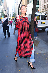 Nicole Richie wears a bright burgundy dress and jeans as she stops by the Today show. 27 Sep 2017 Pictured: Nicole Richie. Photo credit: STB / MEGA TheMegaAgency.com +1 888 505 6342