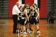 Essex head coach Shawn Montague talks to the team before they take the court during the girls basketball game between the Essex Hornets and the Champlain Valley Union Redhawks at CVU high school on Tuesday night January 26, 2016 in Hinesburg. (BRIAN JENKINS/for the FREE PRESS)
