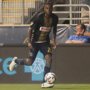 Philadelphia Union Midfielder MARCUS EPPS (20) dribbles up field in the second half of a Major League Soccer match between the Philadelphia Union and Columbus Crew SC Wednesday, July. 26, 2017, at Talen Energy Stadium in Chester, PA.