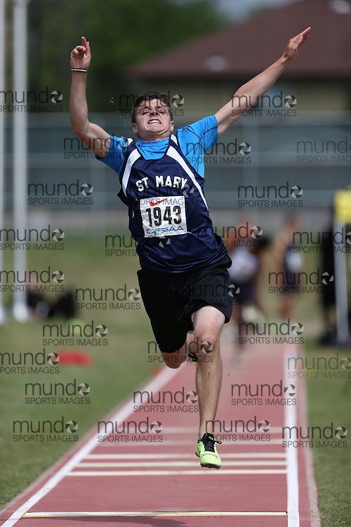 Andrew Garven of St Mary CHS - Brockville competes in the midget boys long jump at the 2013 OFSAA Track and Field Championship in Oshawa Ontario, Thursday,  June 6, 2013.<br /> Mundo Sport Images / Sean Burges