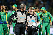 Black Cap's Martin Guptill (L) and Black Cap's Kane Williamson (R) after their record opening partnership in the second T20 match of the ANZ International T20 series - New Zealand Black Caps v Pakistan played at Seddon Park, Hamilton, New Zealand on Sunday 17 January 2016. Copyright Photo:  Bruce Lim / www.photosport.nz