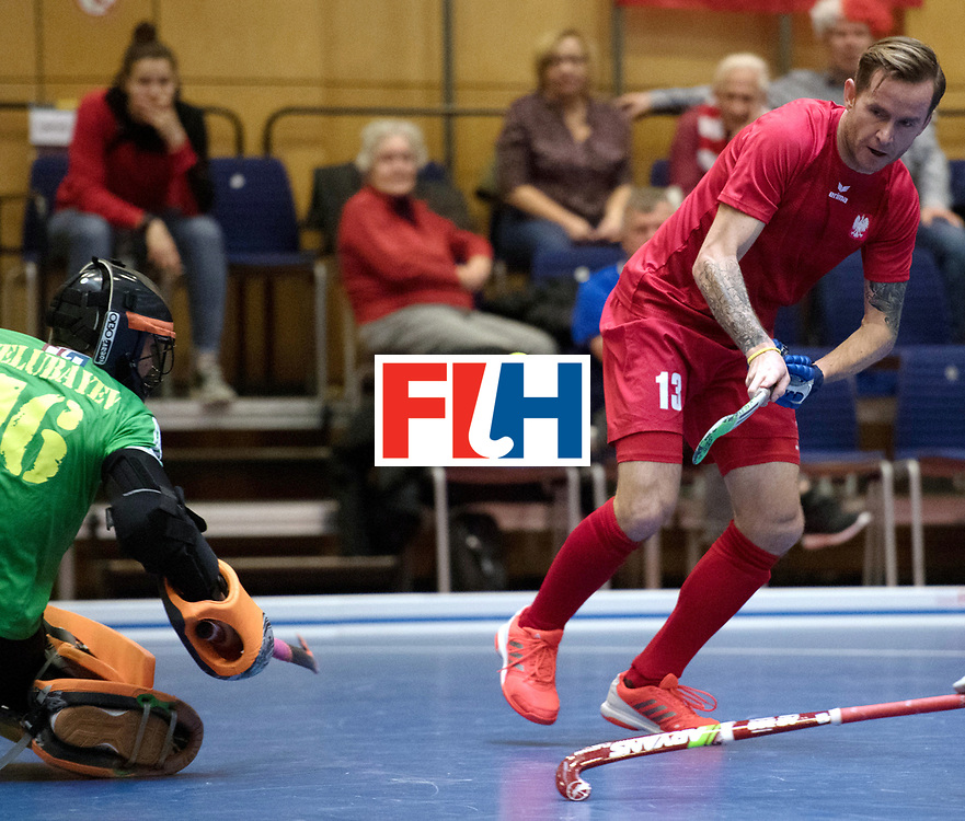 BERLIN - Indoor Hockey World Cup<br /> Kazakhstan - Poland<br /> foto: MIKULA Artur<br /> WORLDSPORTPICS COPYRIGHT FRANK UIJLENBROEK