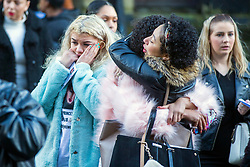 © Licensed to London News Pictures. 31/01/2018. Huddersfield UK. Mourners leave the Huddersfield Parish church after the funeral of 15 year-old Katelyn Dawson that has taken place today. Katelyn suffered fatal injuries when a BMW car smashed into a bus stop where she was waiting to go to school on Wakefield Road, Moldgreen, on Wednesday, January 10 2018. Photo credit: Andrew McCaren/LNP