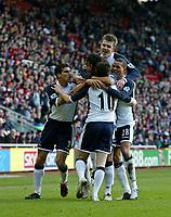 Photo: Andrew Unwin.<br /> Middlesbrough v Tottenham Hotspur. The Barclays Premiership. 18/12/2005.<br /> Tottenham celebrate Robbie Keane (#10) scoring their first goal.