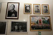 "The museum at A1 Hill, a French position named ""Eliane"", where fierce fighting took place during the famous battle in 1954. Photos of General Giap (l.) and other Vietnamese heroes."