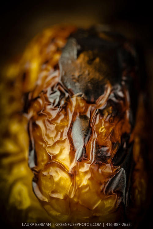 Roasted, blackened yellow pepper.