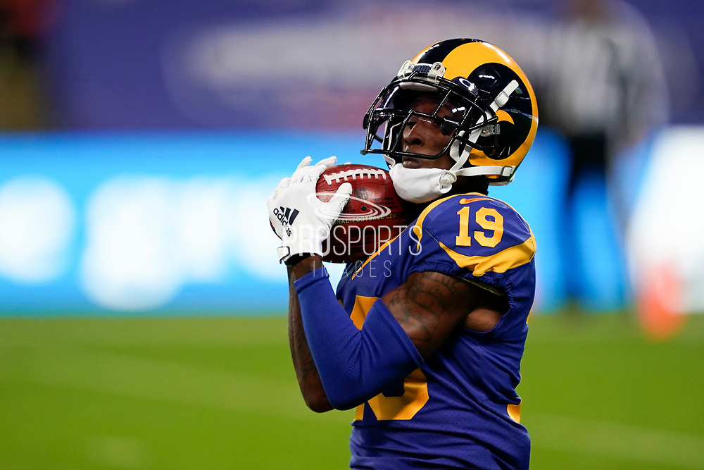 LA Rams Wide Receiver JoJo Natson KR (19) catches the ball during the International Series match between Los Angeles Rams and Cincinnati Bengals at Wembley Stadium, London, England on 27 October 2019.