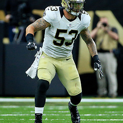 Aug 26, 2016; New Orleans, LA, USA;  New Orleans Saints linebacker James Laurinaitis (53) against the Pittsburgh Steelers during the first half of a preseason game at Mercedes-Benz Superdome. Mandatory Credit: Derick E. Hingle-USA TODAY Sports