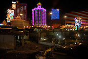 Macau casino' s and new construction at night.<br />Macau, the former Portuguese colony, now part of China has witnessed a gambling boom over the last years. The arrival of new Sands and Wynn casino's from the US has raised the stakes with Macau recently bypasssing Las Vegas in terms of gambling turnover.