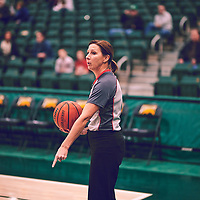Referee during the Women's Basketball Home Game on Thu Feb 14 at Centre for Kinesiology,Health and Sport. Credit: Arthur Ward/Arthur Images