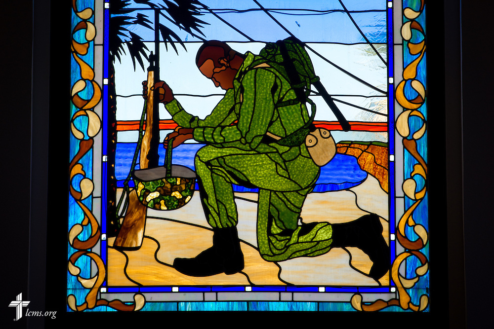 Stained glass is hung above the entrance to the chapel at the Marine Corps Recruit Depot on Sunday, Feb. 1, 2015, in San Diego, Calif. LCMS Communications/Erik M. Lunsford