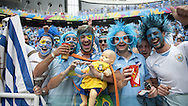 Fans of Uruguay during the 2014 FIFA World Cup match at Arena das Dunas, Natal<br /> Picture by Stefano Gnech/Focus Images Ltd +39 333 1641678<br /> 24/06/2014