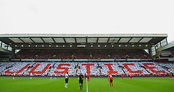 23.09.2012, Anfield, Liverpool, ENG, Premier League, FC Liverpool vs Manchester United, 5. Runde, im Bild Liverpool supporters form a mosaic on the Centenary Stand calling for Justice for the 96 victims of the Hillsborough Stadium Disaster before the English Premier League 5th round match between Liverpool FC and Manchester United at Anfield, Liverpool, Great Britain on 2012/09/23. EXPA Pictures © 2012, PhotoCredit: EXPA/ Propagandaphoto/ David Rawcliff..***** ATTENTION - OUT OF ENG, GBR, UK *****