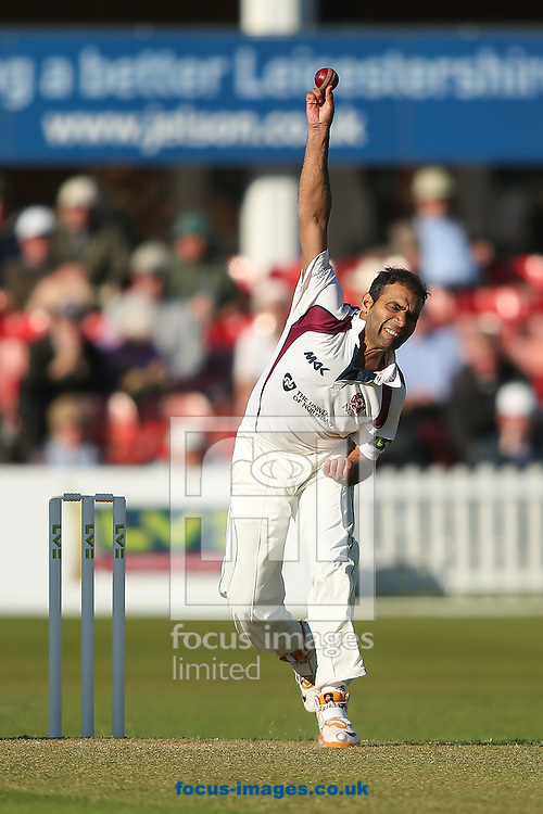 Muhammad Azhar Ullah of Northamptonshire County Cricket Club in delivery stride during the LV County Championship Div Two match at Grace Road, Leicester<br /> Picture by Andy Kearns/Focus Images Ltd 0781 864 4264<br /> 26/04/2015