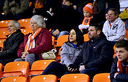 A general view of Blackpool fans in the stands during the Emirates FA Cup, third round match at Bloomfield Road, Blackpool.
