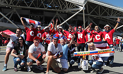 Samara, June 17, 2018  Fans cheer prior to a group E match between Costa Rica and Serbia at the 2018 FIFA World Cup in Samara, Russia, June 17, 2018. (Credit Image: © Ye Pingfan/Xinhua via ZUMA Wire)