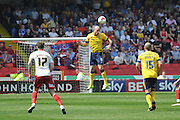 David Mirfin of Scunthorpe United heads ball clear of goal area during the Sky Bet League 1 match between Sheffield Utd and Scunthorpe United at Bramall Lane, Sheffield, England on 8 May 2016. Photo by Ian Lyall.