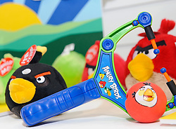 © under license to London News Pictures.  The London Toy Fair opened in Kensington Olympia today with the UK's largest single gathering of the worlds toy manufacturers showing their top merchandise for the year to come all under one roof. Pictured are items from the toy range of the hugely successful iPhone Game called Angry Birds. On display amongst the  huge ranges of children's playthings were toys of the 2012 London Olympic Mascots Wenlock and Mandeville along side the new Team GB Mascot which will also be on sale during the London games..Photographer: Lee Durant.Date: 25/01/11