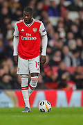 Arsenal forward Nicolas Pépé (19) prepares to take a free kick during the Europa League match between Arsenal and Vitoria SC at the Emirates Stadium, London, England on 24 October 2019.