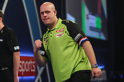 Michael van Gerwen wins leg and celebrates during the World Darts Championships 2018 at Alexandra Palace, London, United Kingdom on 30 December 2018.