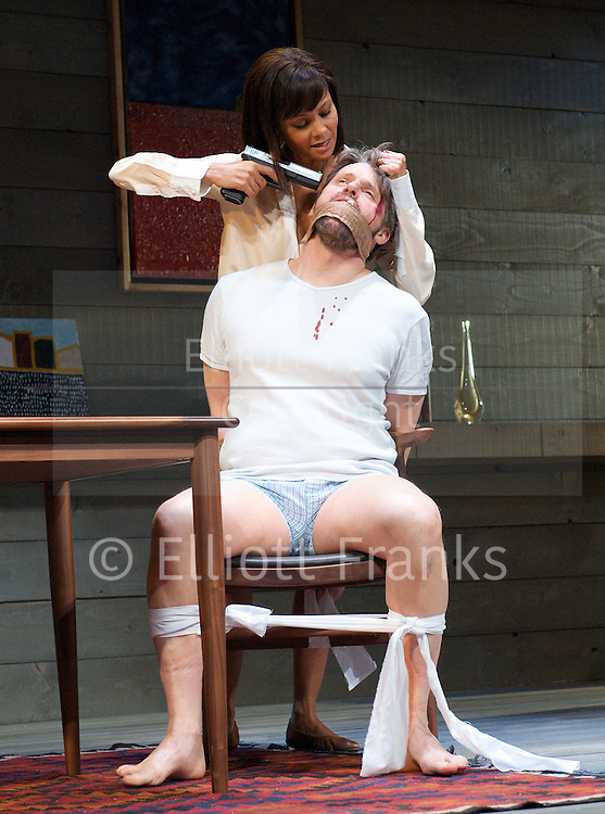 Death and the Maiden <br /> by <br /> Ariel Dorfman <br /> at the Harold Pinter Theatre<br /> London, Great Britain <br /> Press Photocall<br /> 20th October 2011 <br /> <br /> <br /> Thandie Newton (as Paulina Salas)<br /> <br /> Tom Goodman-Hill (as Gerardo Escobar)<br /> <br /> Anthony Calf (as Roberto Miranda)<br /> <br /> directed by Jeremy Herrin<br /> <br /> <br /> Photograph by Elliott Franks