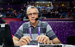 Peter Vilfa, commentator of Kanal A prior to the basketball match between National Teams of Russia and Serbia at Day 16 in Semifinal of the FIBA EuroBasket 2017 at Sinan Erdem Dome in Istanbul, Turkey on September 15, 2017. Photo by Vid Ponikvar / Sportida