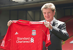 LIVERPOOL, ENGLAND - Thursday, July 1, 2010: Liverpool Football Club's new manager Roy Hodgson during a photo-call at Anfield. (Pic by David Rawcliffe/Propaganda)