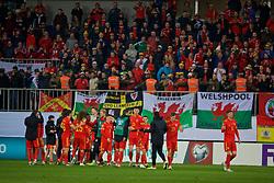 BAKU, AZERBAIJAN - Saturday, November 16, 2019: Wales players celebrate after the UEFA Euro 2020 Qualifying Group E match between Azerbaijan and Wales at the Bakcell Arena. Wales won 2-0. (Pic by David Rawcliffe/Propaganda)