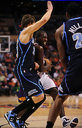Mar. 19 2010; Phoenix, AZ, USA; Phoenix Suns guard Jason Richardson (23) drives the ball against Utah Jazz's Kyle Korver (26) in the first half at the US Airways Center. Mandatory Credit: Jennifer Stewart-US PRESSWIRE.