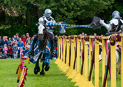 Pictured: Jousting at Linlithgow Palace. Linlithgow Palace, West Lothian, Scotland, United Kingdom, 30 June 2019. Historic Environment Scotland present their annual Medieval family day at The Peel at the grounds of the ruined 15th century castle. Events include a Living Medieval Village, a children's army schiltron, Falconry display by Strathblane Falconry and spectacular jousting.<br /> <br /> Sally Anderson | EdinburghElitemedia.co.uk