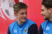 AFC Wimbledon and England U17 Goalkeeper Josef Bursik, gets his first call up for club and is on the bench during the EFL Sky Bet League 1 match between Swindon Town and AFC Wimbledon at the County Ground, Swindon, England on 14 April 2017. Photo by Stuart Butcher.