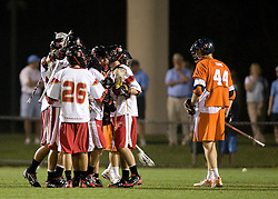 Maryland celebrates after scoring against Virginia.  The #3 ranked Virginia Cavaliers defeated the #8 ranked Maryland Terrapins 11-8 in the semi finals of the Men's 2008 Atlantic Coast Conference tournament at the University of Virginia's Klockner Stadium in Charlottesville, VA on April 25, 2008.