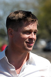 16 March 2008. New Orleans, Louisiana. Lower 9th ward.<br /> Movie star Brad Pitt in town for the 'Make a Difference, Make a Commitment' clean up of the neighbourhood devastated by Hurricane Katrina. The massive clean up project was organised by Brad Pitt's Make it Right Foundation aided by the Clinton Global Initiative.<br /> Photo credit; Charlie Varley.