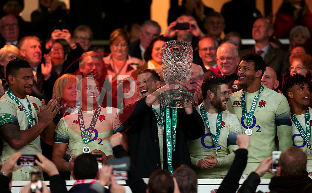 Dylan Hartley of England lifts the Cook Cup - Mandatory by-line: Robbie Stephenson/JMP - 18/11/2017 - RUGBY - Twickenham Stadium - London, England - England v Australia - Old Mutual Wealth Series
