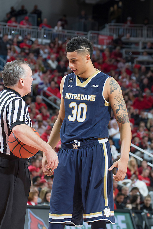 Notre Dame forward Zach Auguste. <br /> <br /> The University of Louisville hosted Notre Dame, Wednesday, March 04, 2015 at Yum Center in Louisville. <br /> <br /> Photo by Jonathan Palmer