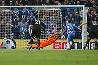 Football - 2017 / 2018 Premier League - Brighton and Hove Albion vs. Leicester City<br /> <br /> Kasper Schmeichel of Leicester City saves Glenn Murray of Brighton penalty at The Amex Stadium Brighton <br /> <br /> COLORSPORT/SHAUN BOGGUST