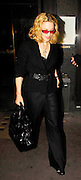 25.SEPTEMBER.2007. LONDON<br /> <br /> A VERY GLUM AND GUANT LOOKING MADONNA LEAVING CECCONI&rsquo;S RESTAURANT, MAYFAIR AT 11.30PM BY HERSELF AND SHE WAS WEARING A WEIRD PAIR OF ORANGE TINTED SUNGLASSES AND SKULL AND BONES NECKLACE. HER ARMS ALSO LOOK VERY SKINNY AND BONEY.<br /> <br /> BYLINE: EDBIMAGEARCHIVE.CO.UK<br /> <br /> *THIS IMAGE IS STRICTLY FOR UK NEWSPAPERS AND MAGAZINES ONLY*<br /> *FOR WORLD WIDE SALES AND WEB USE PLEASE CONTACT EDBIMAGEARCHIVE - 0208 954 5968*