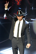 "LAS VEGAS, NV - DECEMBER 08:  Singer/songwriter Tim McGraw performs during the opening weekend of his limited-engagement ""Soul2Soul"" show with his wife, singer Faith Hill, at The Venetian on December 8, 2012 in Las Vegas, Nevada. The country music couple is scheduled to perform on 10 weekends through April 2013.  (Photo by Jeff Bottari/Getty Images)"