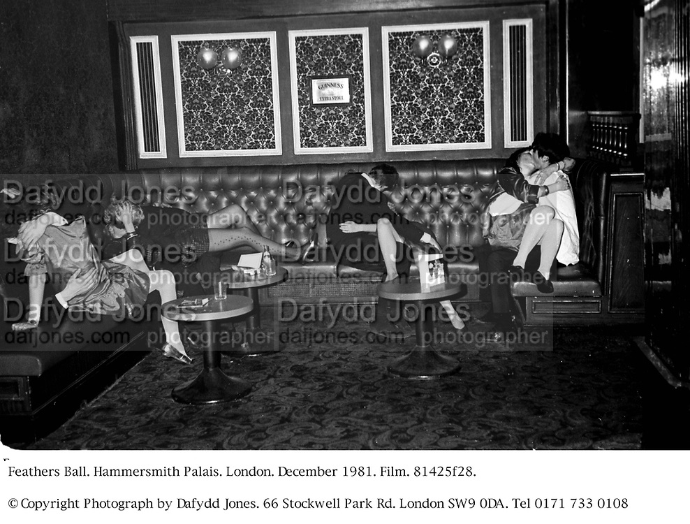 Feathers Ball. Hammersmith Palais. London. December 1981. Film. 81425f28.<br />