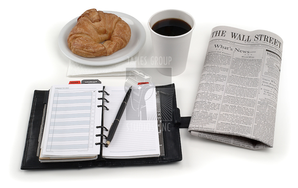 coffee danish paper planner on white